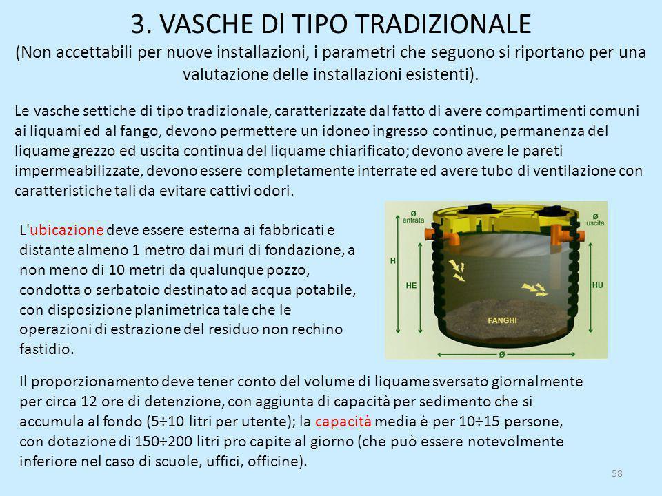 3. VASCHE Dl TIPO TRADIZIONALE (Non accettabili per nuove installazioni, i parametri che seguono si riportano per una valutazione delle installazioni esistenti).