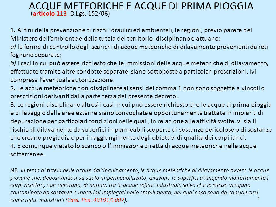 ACQUE METEORICHE E ACQUE DI PRIMA PIOGGIA