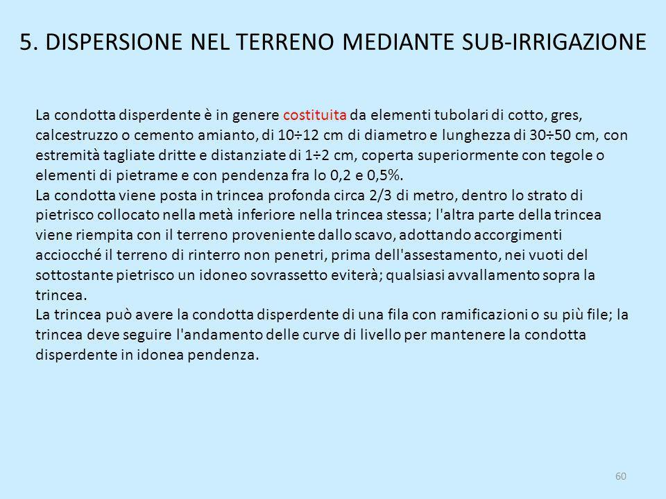5. DISPERSIONE NEL TERRENO MEDIANTE SUB-IRRIGAZIONE
