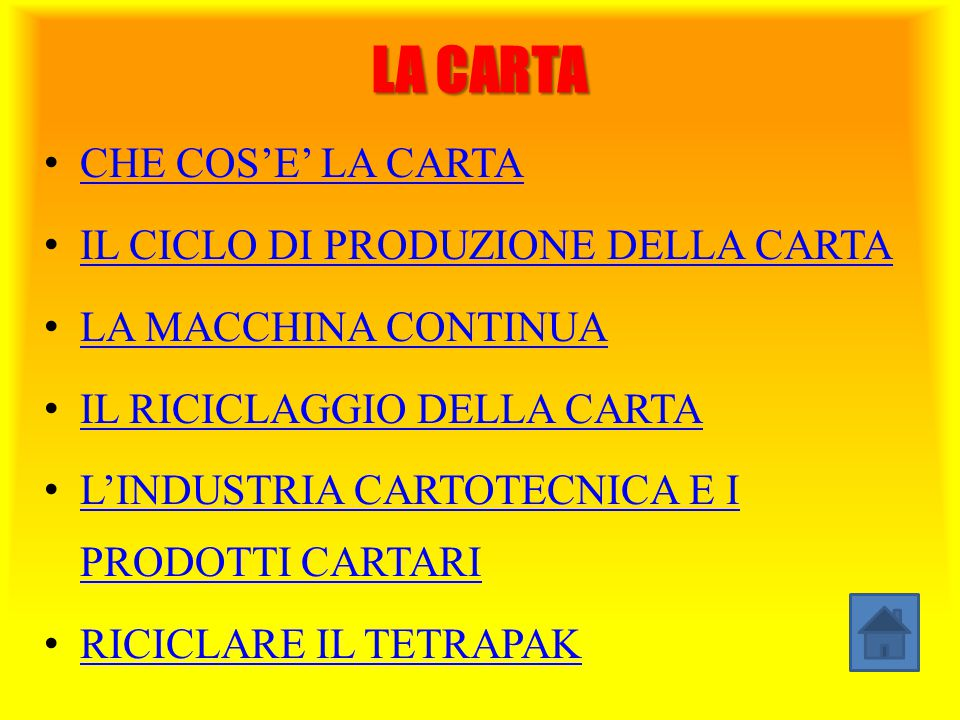 LA CARTA CHE COS'E' LA CARTA IL CICLO DI PRODUZIONE DELLA CARTA