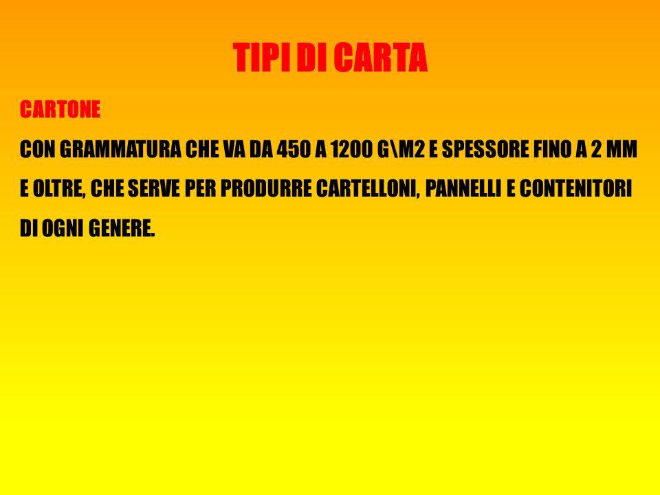 TIPI DI CARTA CARTONE.