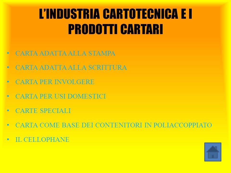 L'INDUSTRIA CARTOTECNICA E I PRODOTTI CARTARI