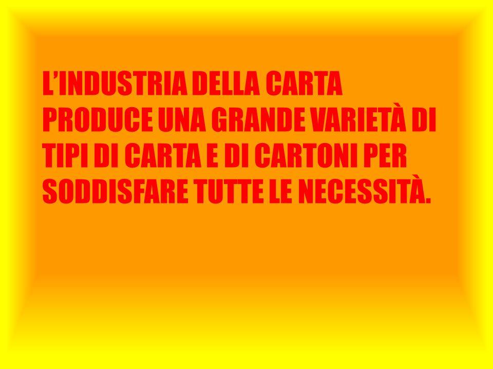 L'INDUSTRIA DELLA CARTA PRODUCE UNA GRANDE VARIETÀ DI TIPI DI CARTA E DI CARTONI PER SODDISFARE TUTTE LE NECESSITÀ.