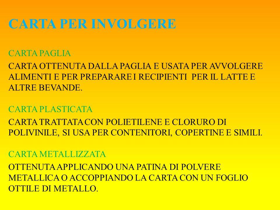 CARTA PER INVOLGERE CARTA PAGLIA