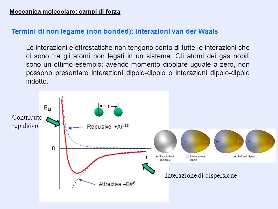 Termini di non legame (non bonded): interazioni van der Waals