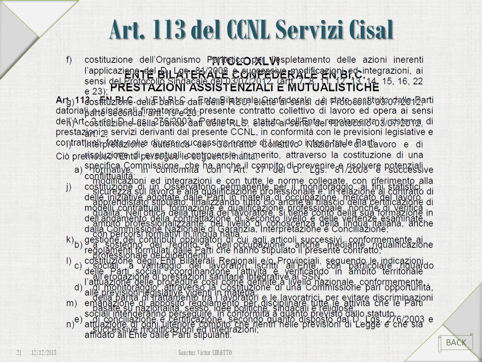 Art. 113 del CCNL Servizi Cisal