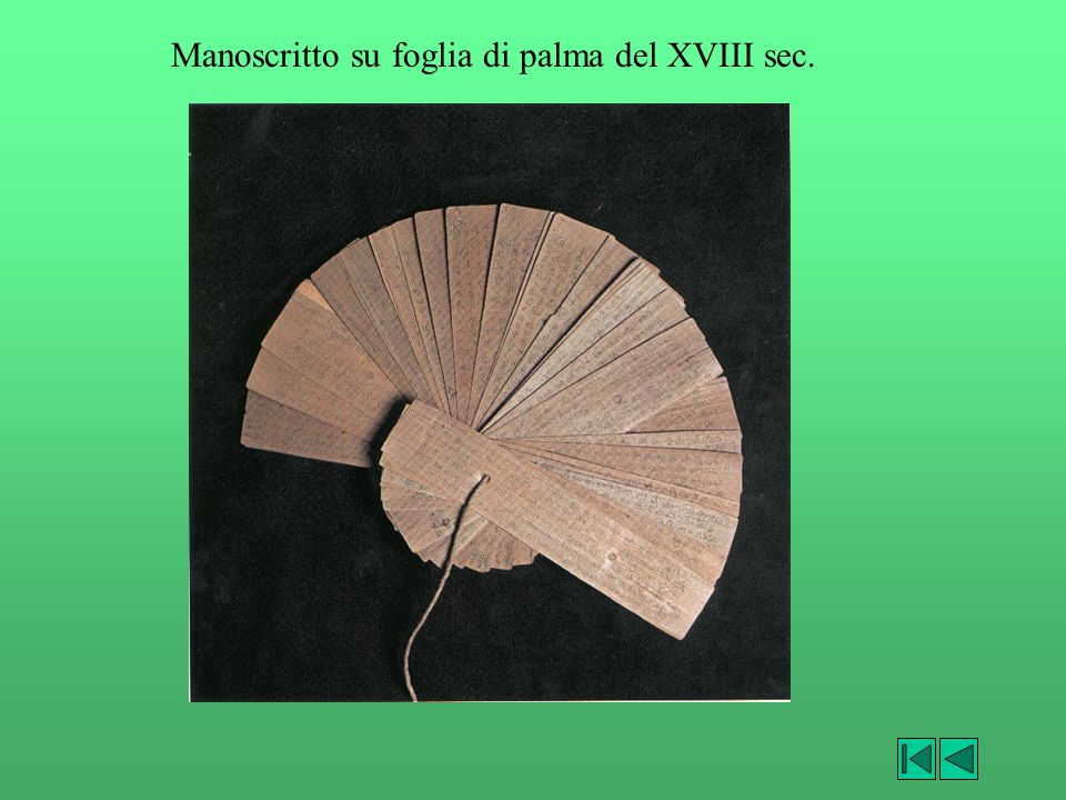 Manoscritto su foglia di palma del XVIII sec.