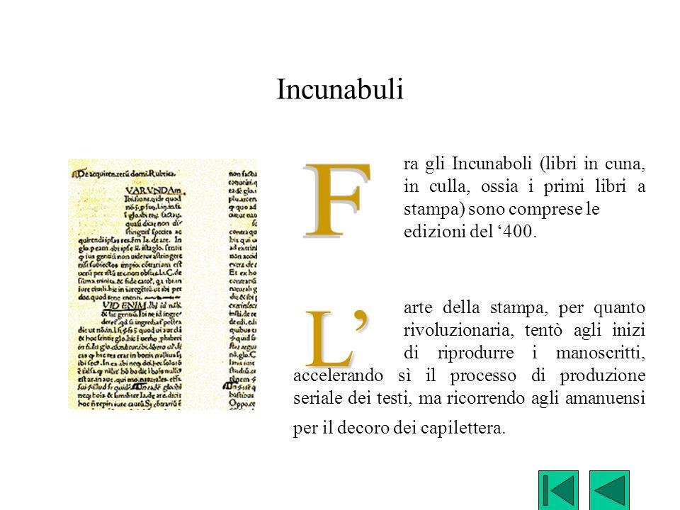 Incunabuli ra gli Incunaboli (libri in cuna, in culla, ossia i primi libri a stampa) sono comprese le edizioni del '400.
