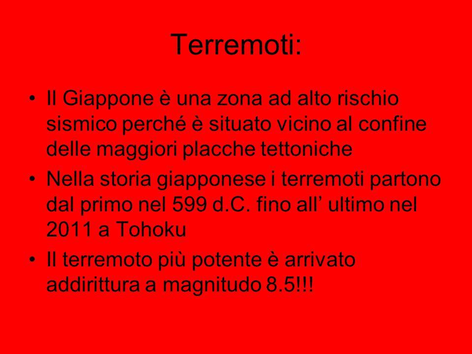 Terremoti: Il Giappone è una zona ad alto rischio sismico perché è situato vicino al confine delle maggiori placche tettoniche.