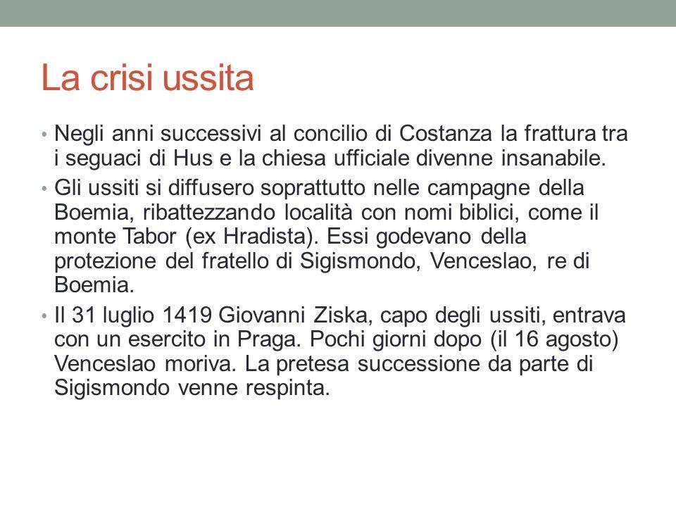 La crisi ussita Negli anni successivi al concilio di Costanza la frattura tra i seguaci di Hus e la chiesa ufficiale divenne insanabile.
