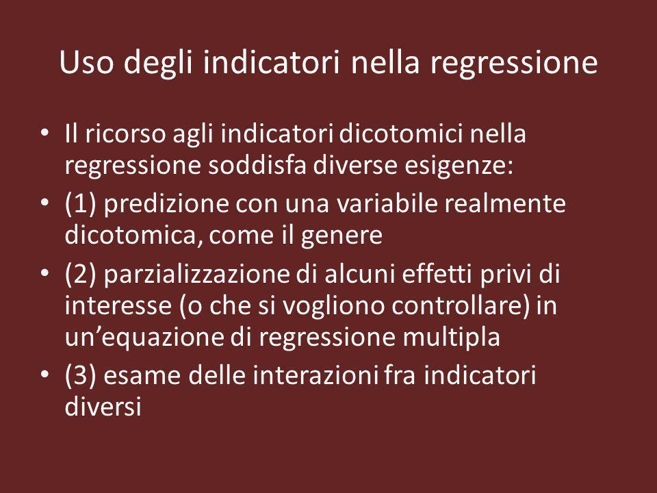 Uso degli indicatori nella regressione