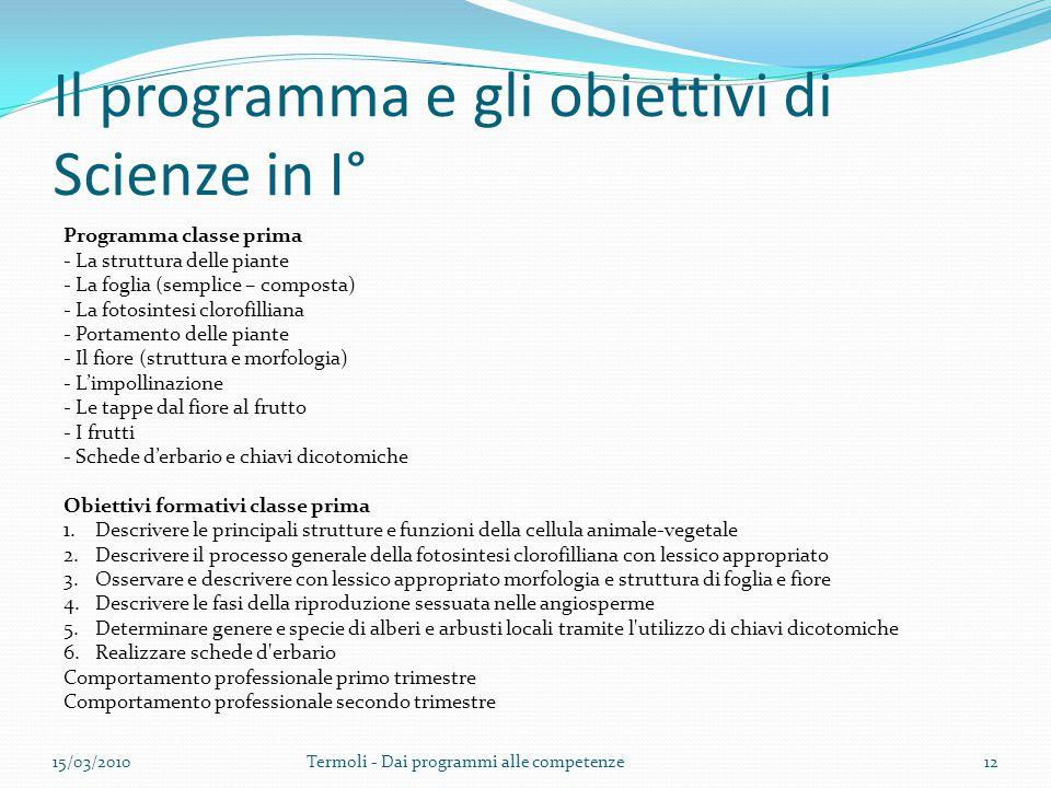 Il programma e gli obiettivi di Scienze in I°