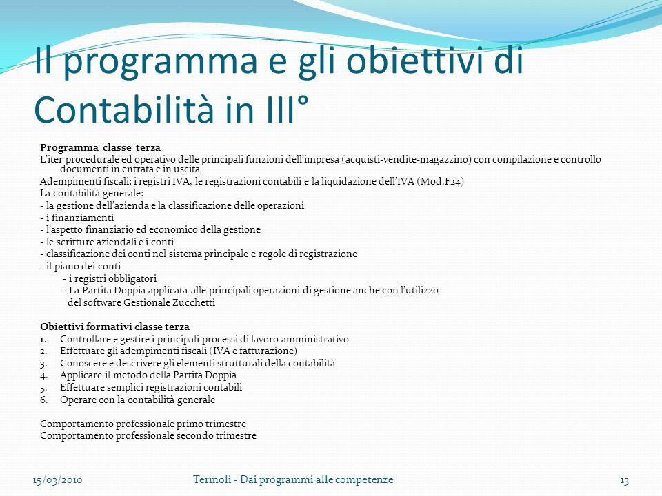Il programma e gli obiettivi di Contabilità in III°
