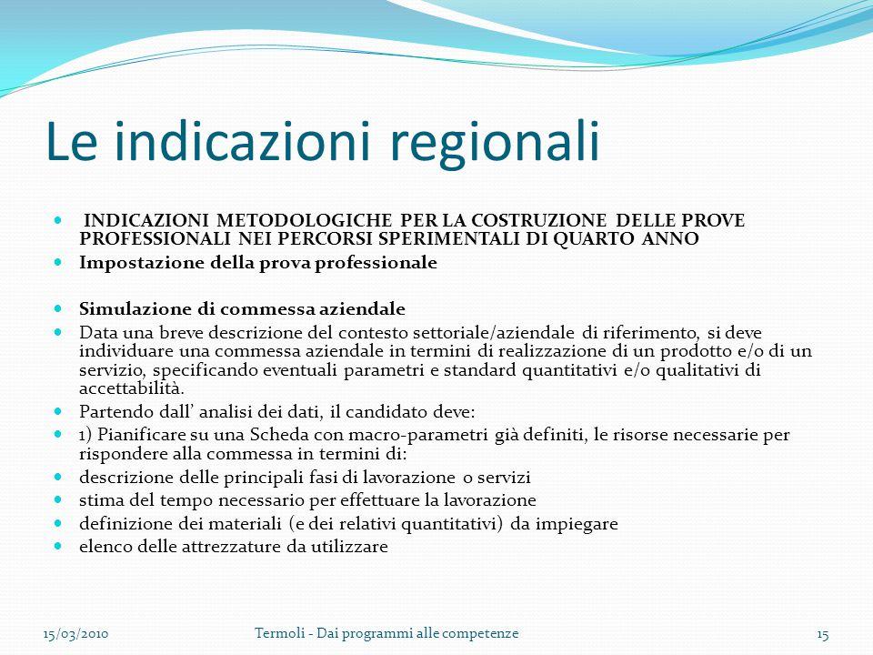 Le indicazioni regionali