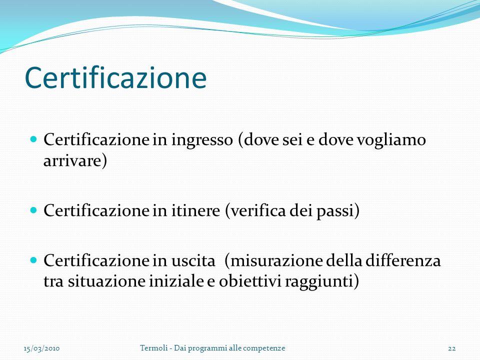 Certificazione Certificazione in ingresso (dove sei e dove vogliamo arrivare) Certificazione in itinere (verifica dei passi)