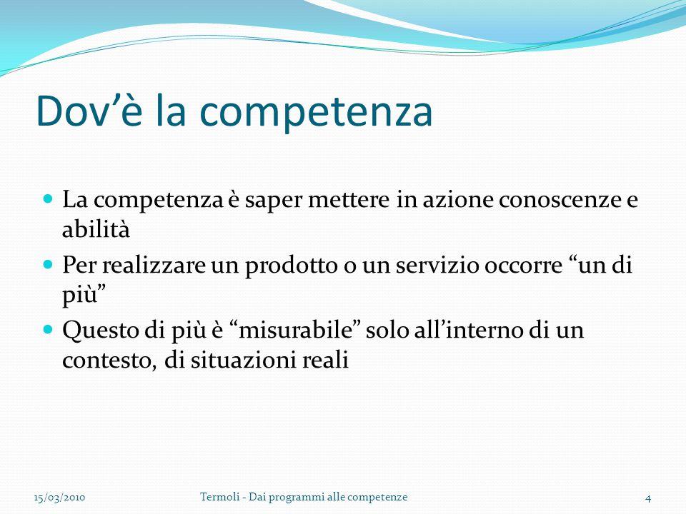Dov'è la competenza La competenza è saper mettere in azione conoscenze e abilità. Per realizzare un prodotto o un servizio occorre un di più