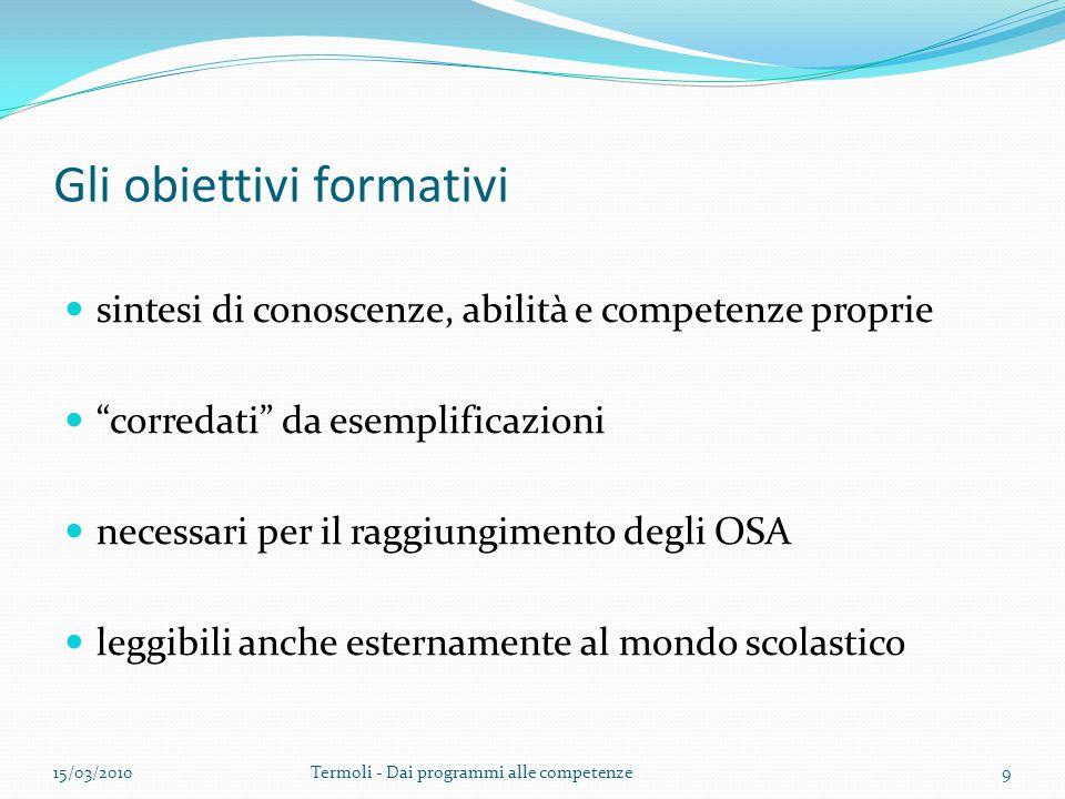 Gli obiettivi formativi