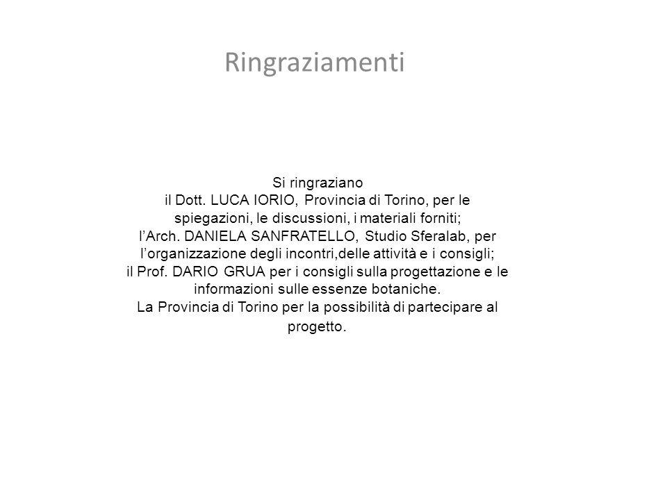 La Provincia di Torino per la possibilità di partecipare al progetto.