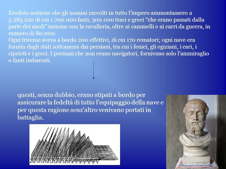 Erodoto sostiene che gli uomini raccolti in tutto l'impero ammontassero a 5.283.220 di cui 1.700.000 fanti, 300.000 traci e greci che erano passati dalla parte dei medi insieme con la cavalleria, oltre ai cammelli e ai carri da guerra, in numero di 80.000.