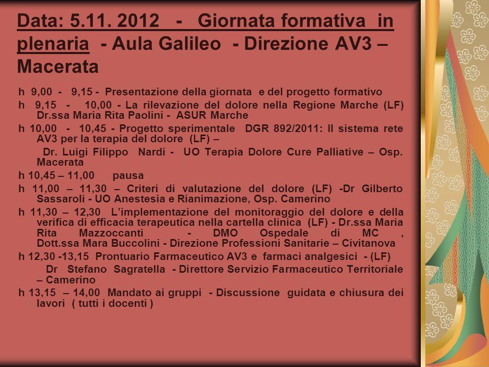 Data: 5.11. 2012 - Giornata formativa in plenaria - Aula Galileo - Direzione AV3 – Macerata