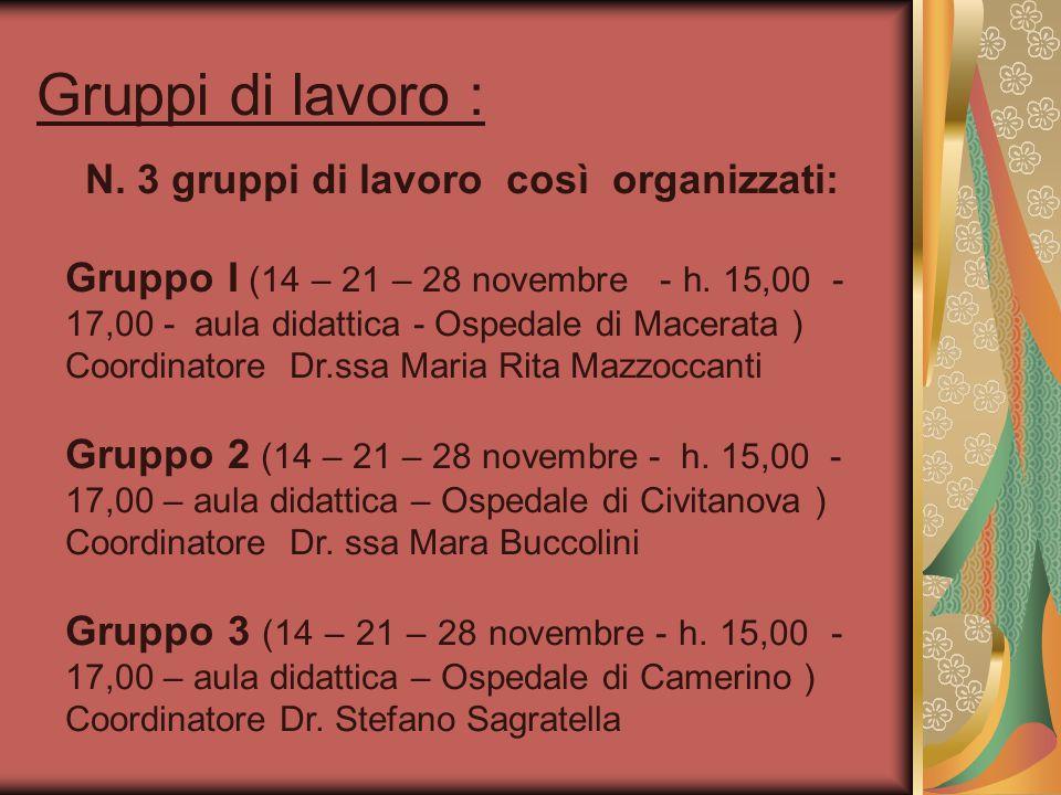 Gruppi di lavoro : N. 3 gruppi di lavoro così organizzati: