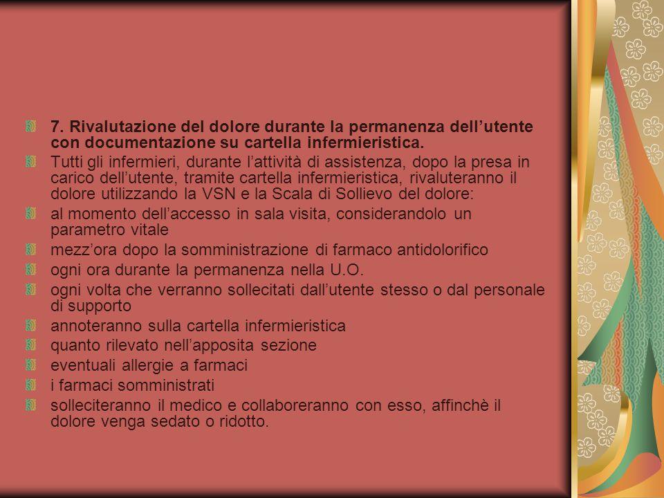 7. Rivalutazione del dolore durante la permanenza dell'utente con documentazione su cartella infermieristica.