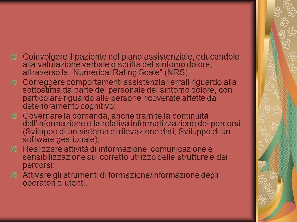 Coinvolgere il paziente nel piano assistenziale, educandolo alla valutazione verbale o scritta del sintomo dolore, attraverso la Numerical Rating Scale (NRS);