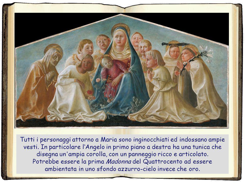 Tutti i personaggi attorno a Maria sono inginocchiati ed indossano ampie vesti. In particolare l'Angelo in primo piano a destra ha una tunica che disegna un ampia corolla, con un panneggio ricco e articolato.