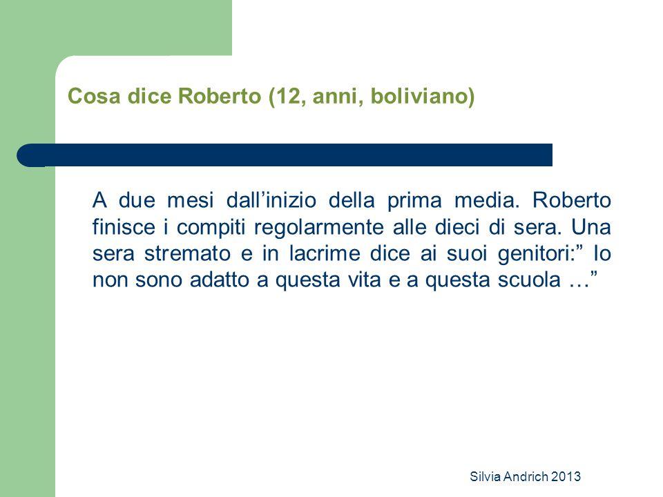 Cosa dice Roberto (12, anni, boliviano)
