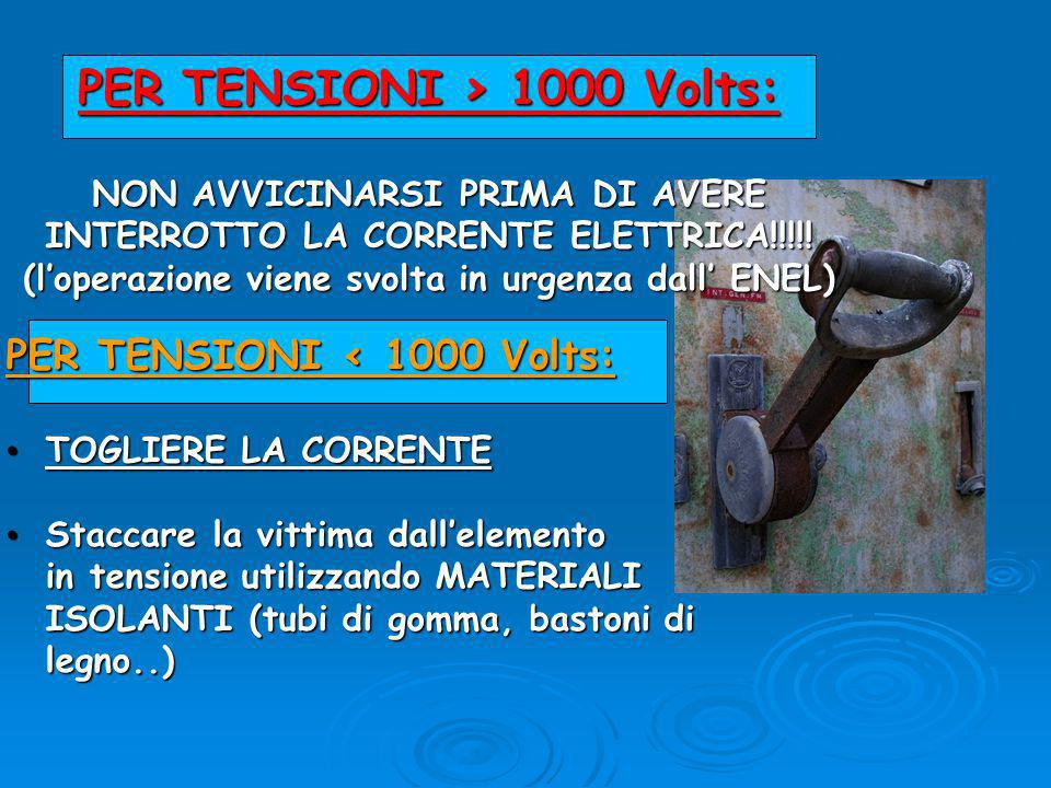 PER TENSIONI > 1000 Volts: