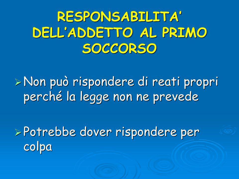 RESPONSABILITA' DELL'ADDETTO AL PRIMO SOCCORSO