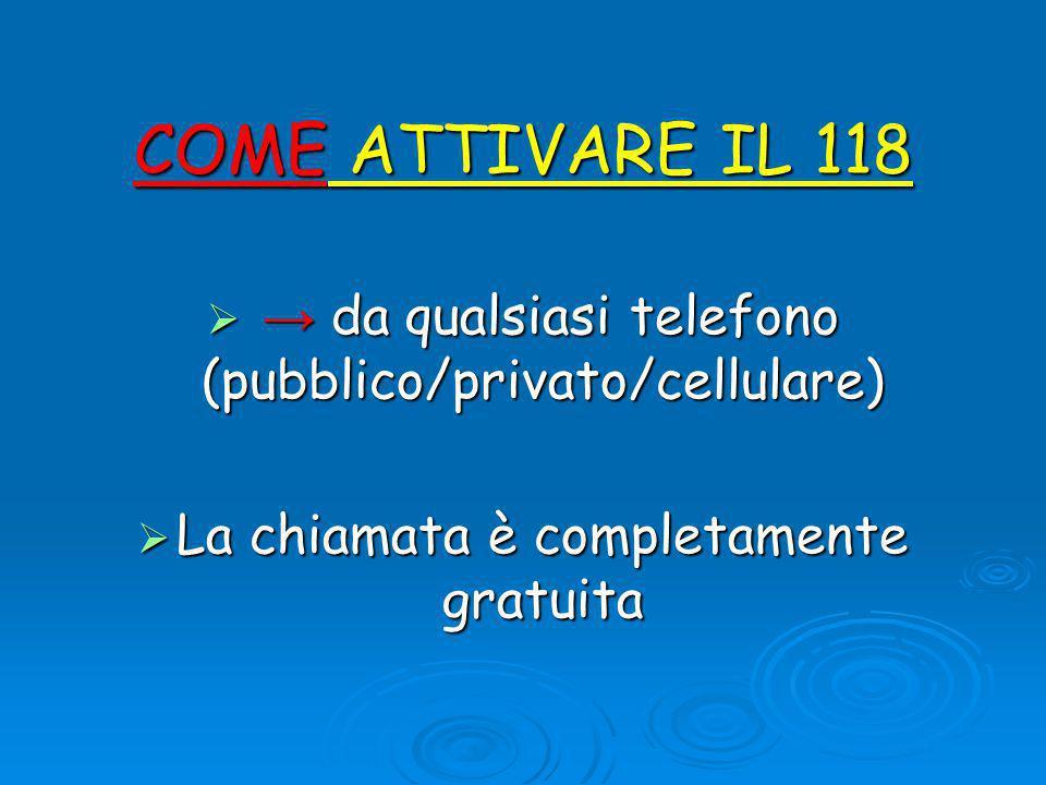 COME ATTIVARE IL 118 → da qualsiasi telefono (pubblico/privato/cellulare) La chiamata è completamente gratuita.