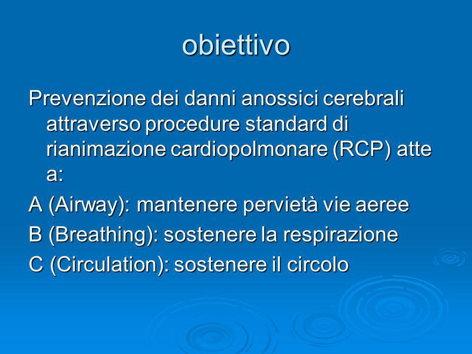 obiettivo Prevenzione dei danni anossici cerebrali attraverso procedure standard di rianimazione cardiopolmonare (RCP) atte a: