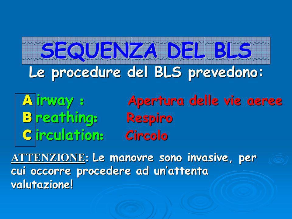 Le procedure del BLS prevedono: