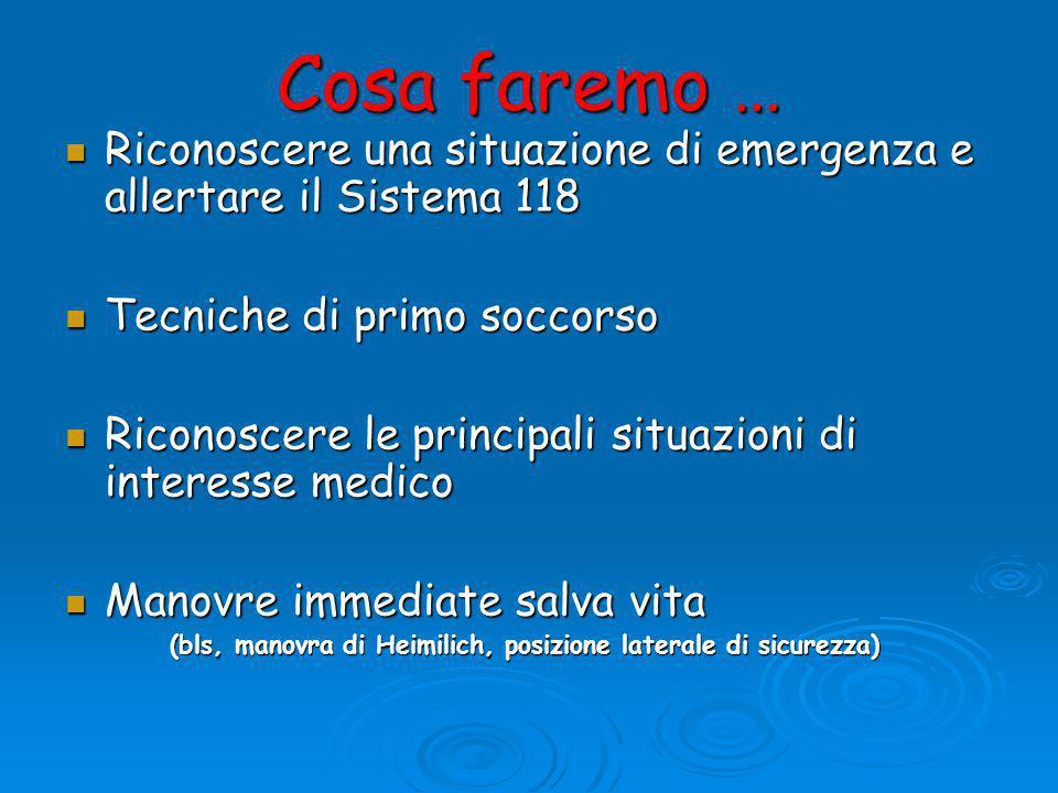 Cosa faremo … Riconoscere una situazione di emergenza e allertare il Sistema 118. Tecniche di primo soccorso.