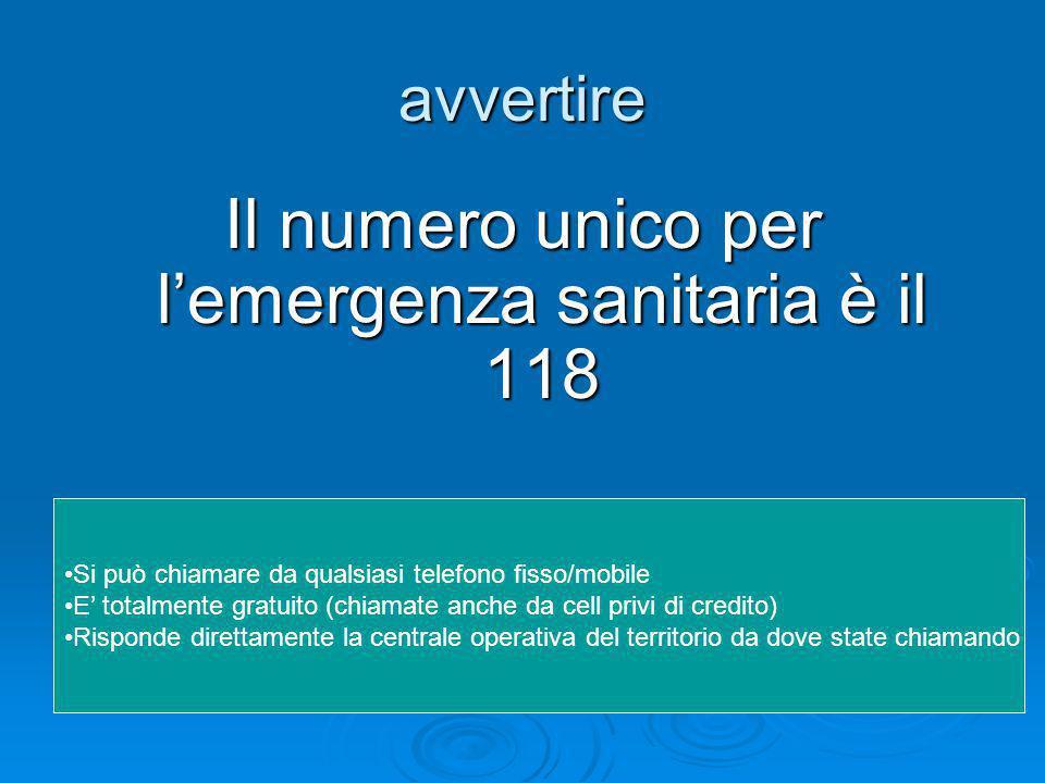 Il numero unico per l'emergenza sanitaria è il 118