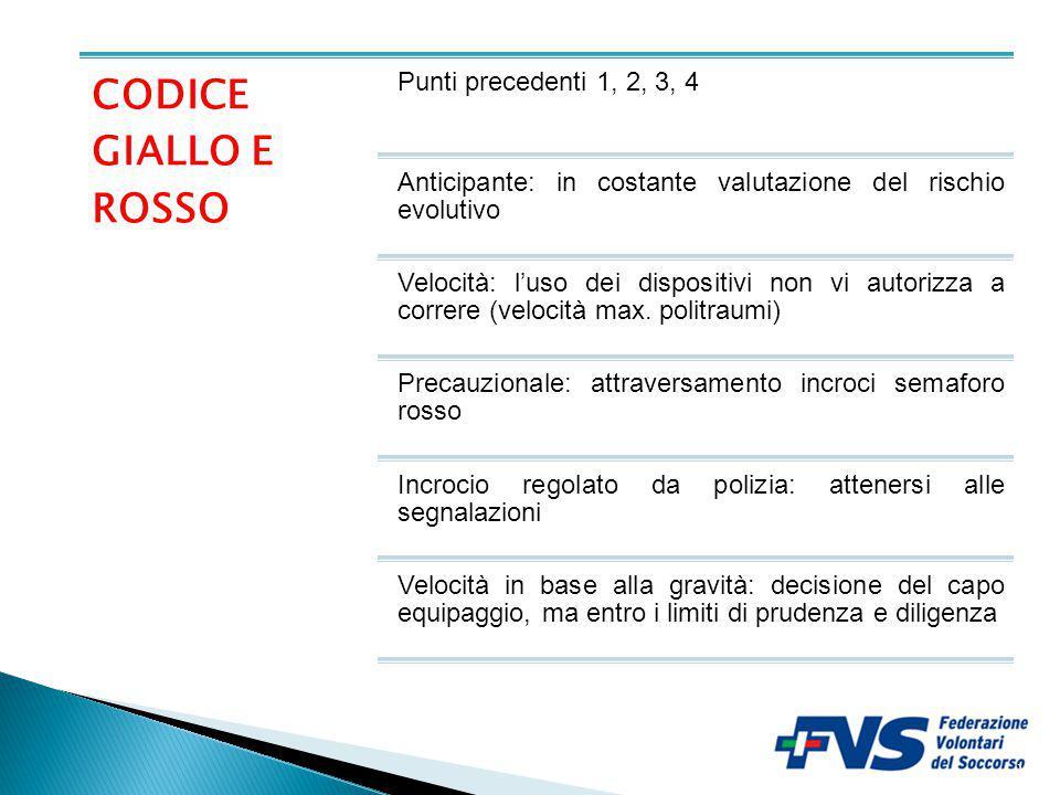 CODICE GIALLO E ROSSO Punti precedenti 1, 2, 3, 4