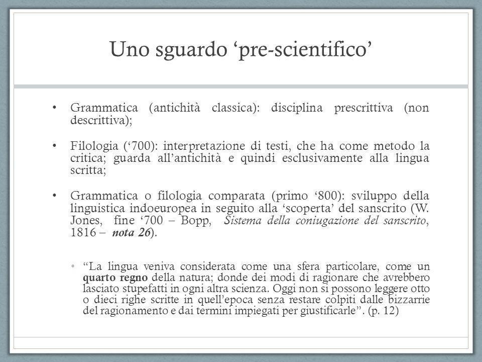 Uno sguardo 'pre-scientifico'