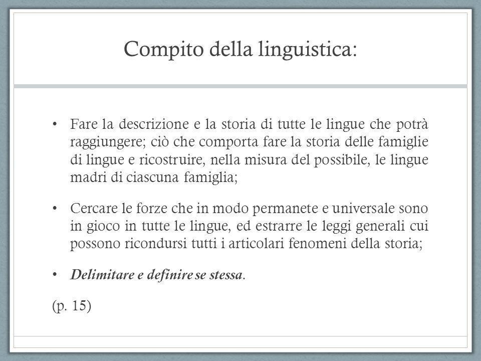 Compito della linguistica: