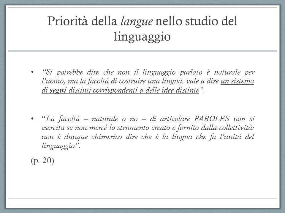 Priorità della langue nello studio del linguaggio