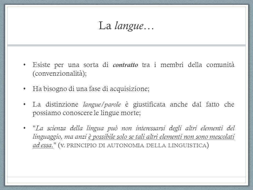 La langue… Esiste per una sorta di contratto tra i membri della comunità (convenzionalità); Ha bisogno di una fase di acquisizione;