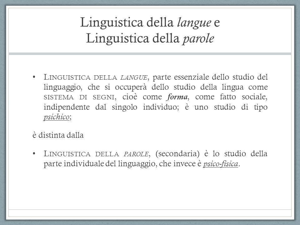 Linguistica della langue e Linguistica della parole