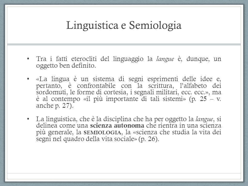 Linguistica e Semiologia
