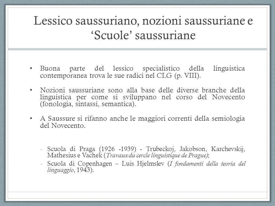 Lessico saussuriano, nozioni saussuriane e 'Scuole' saussuriane