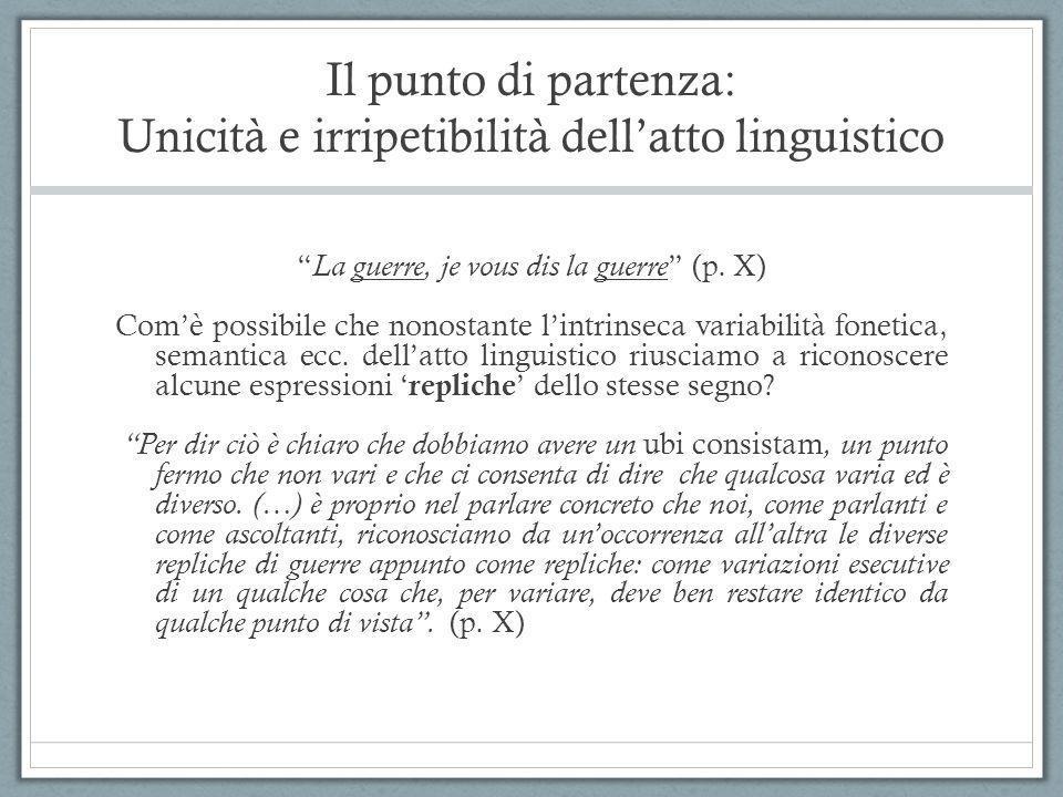 Il punto di partenza: Unicità e irripetibilità dell'atto linguistico