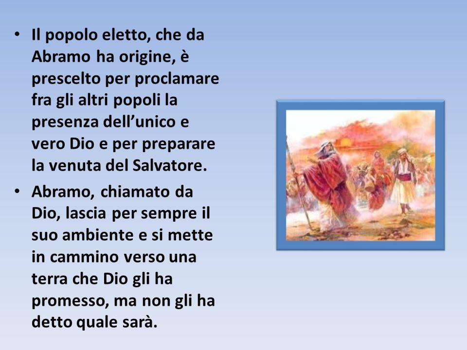 Il popolo eletto, che da Abramo ha origine, è prescelto per proclamare fra gli altri popoli la presenza dell'unico e vero Dio e per preparare la venuta del Salvatore.