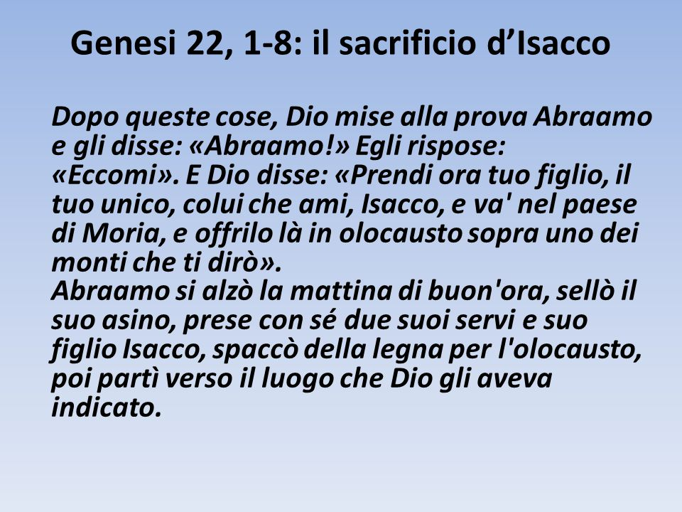 Genesi 22, 1-8: il sacrificio d'Isacco
