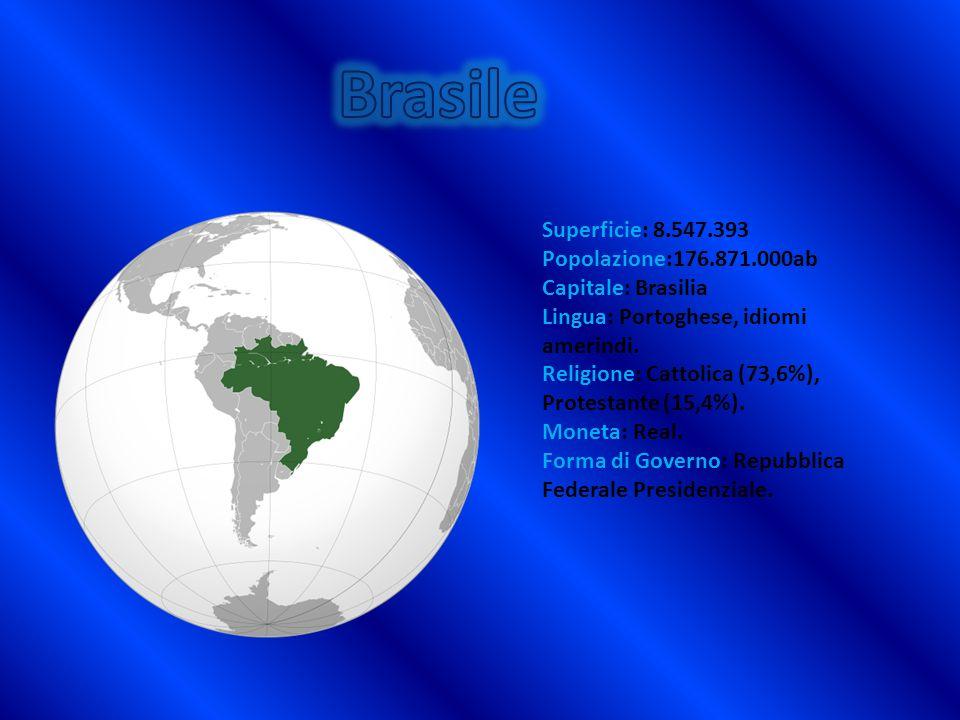 Brasile Superficie: 8.547.393 Popolazione:176.871.000ab