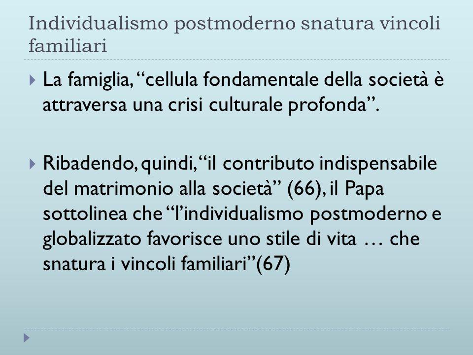 Individualismo postmoderno snatura vincoli familiari