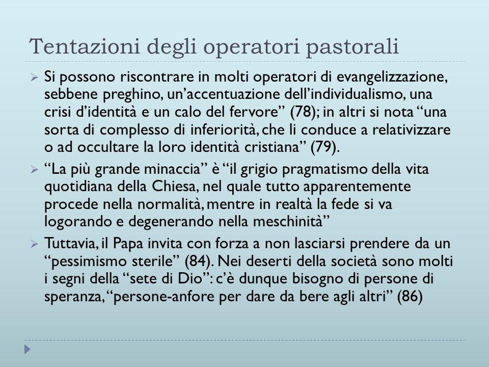 Tentazioni degli operatori pastorali